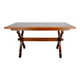 1960s Vintage French Oak Dining Table For Sale