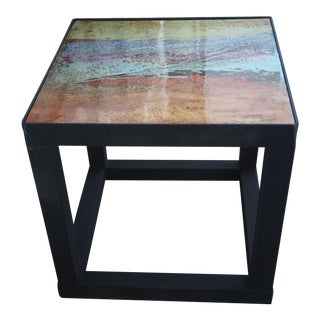 Mixed Media Cube Side Table