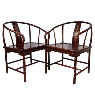 1900s Chinese Horseshoe Back Armchairs - a Pair Preview