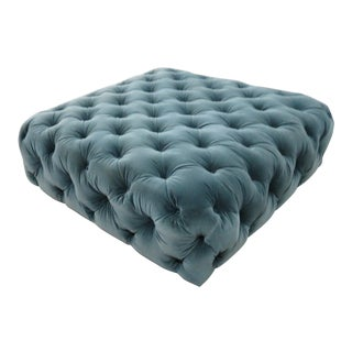 Mid-Century Blue Velvet Chesterfield Style Ottoman For Sale