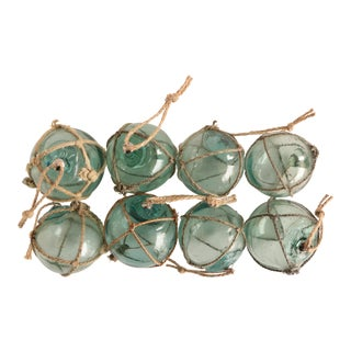 Nautical Netted Glass Christmas Ornaments - Set of 8 For Sale