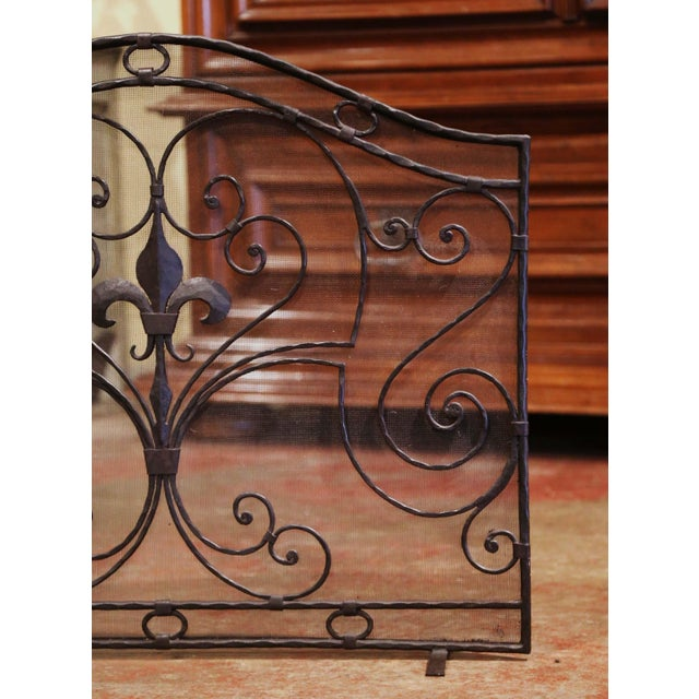 Late 20th Century Mid-20th Century French Gothic Wrought Iron Fireplace Screen With Fleur-De-Lis For Sale - Image 5 of 8