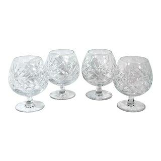 Vintage Brandy / Cognac Snifters Cut Crystal Liquor Glasses - Set of 4 For Sale