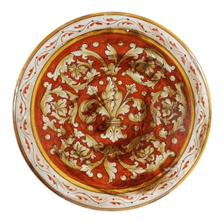 Italian Vintage Hand Painted Round Ceramic Platter For Sale
