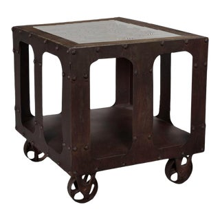 Industrial Karlis End Table With Marble Top For Sale