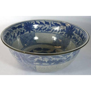 Blue and White Crackle Patina Porcelain Wash Basin From, China, 20th Century Preview