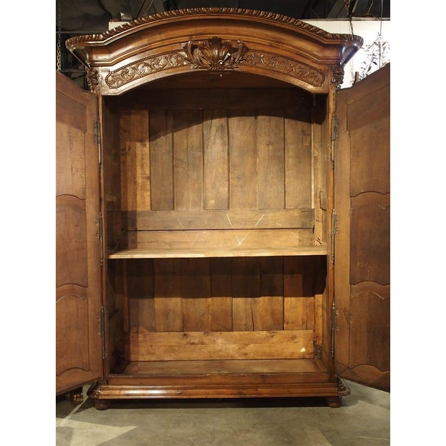 """Early 1700's French Walnut Wood Chateau Armoire, """"The Order of Saint Louis"""" For Sale - Image 9 of 11"""