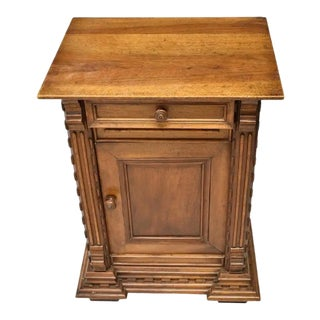 French Brutalist Style 19th Century Carved Walnut Bedside Table For Sale