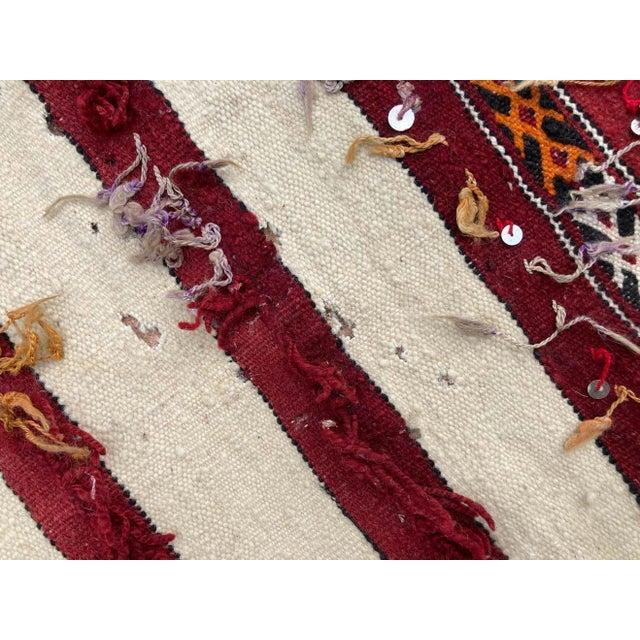 Handwoven vintage Moroccan Berber Tribal Handira ethnic textile. Moroccan Bohemian style rug, handwoven by the Berber...