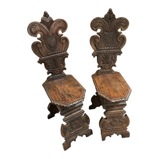 Italian Hand Carved Wooden Chairs, circa 1810 - A Pair For Sale
