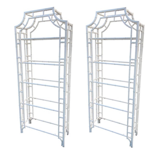 Restored Chippendale Metal Bamboo Pagoda Shelves Étagères - a Pair For Sale - Image 11 of 11