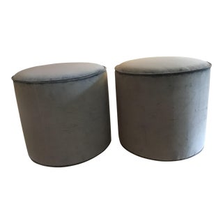 Powder Blue Ottomans- A Pair For Sale