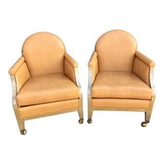 Handmade Leather Rolling Lounge Armchairs - A Pair