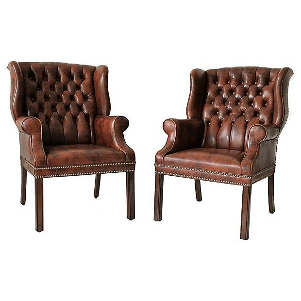 Tufted Leather Wingback Chairs - A Pair - Image 2 of 10
