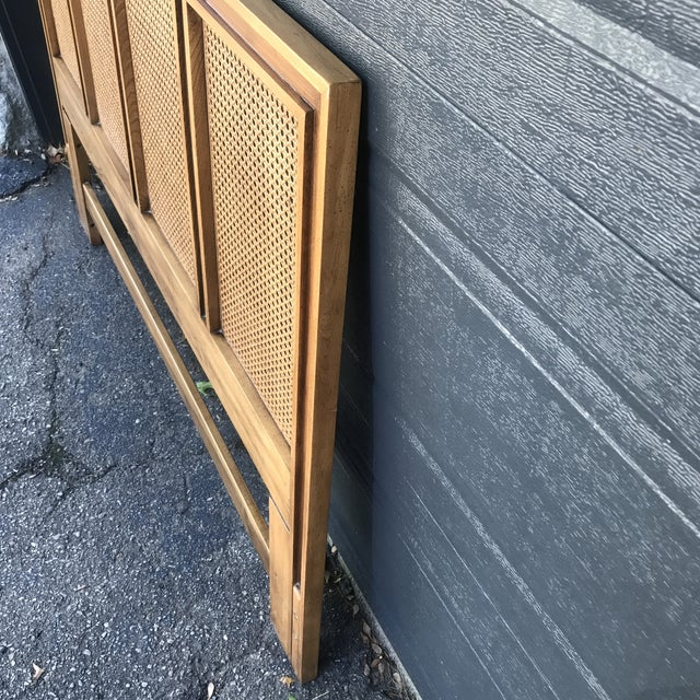 Mid 20th Century Mid Century Walnut Caned Queen Headboard For Sale - Image 5 of 8