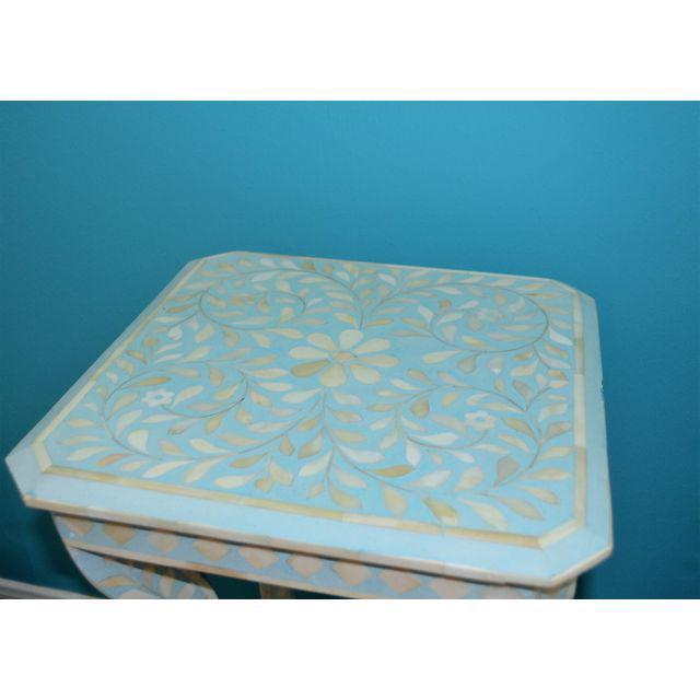 Indian Bone Inlay Side Table - Image 6 of 10