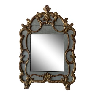 18th Century French Mirror With Carved and Gilded Overlay For Sale