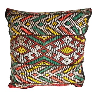 "Vintage Banded Berber Pillow - 16"" Sq. For Sale"