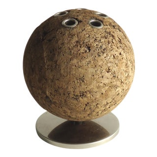 1970's Mid-Century Modern Spherical Cork Pen Holder
