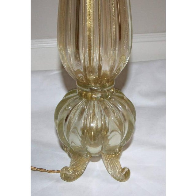 1960s 1960s Italian Barovier Murano Gold Footed Table Lamp For Sale - Image 5 of 10