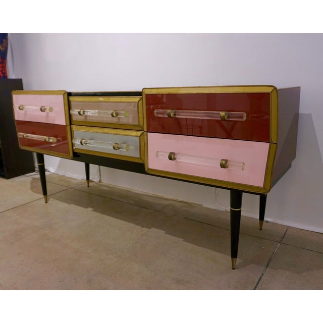 White 1960 Italian Vintage Rose Pink Gray Wine Gold 6 Drawers Sideboard / Console For Sale - Image 8 of 13