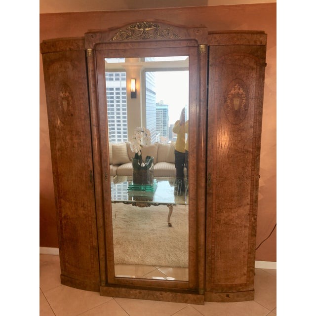 Antique French Burlwood Armoire With Mirror - Image 7 of 10