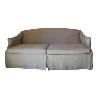 Lee Industries Taupe Linen Sofa For Sale