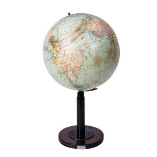 Early 20th Century Tall Globe on Black Wood Stand From Italy For Sale