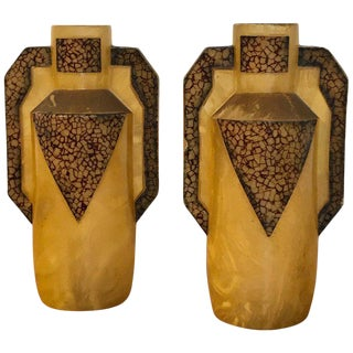 Pair of Art Deco Celluloid Handled Vases For Sale