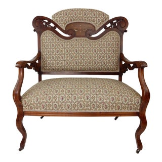 Antique Victorian Walnut Settee Inlaid With Mother of Pearl Great Upholstery. For Sale