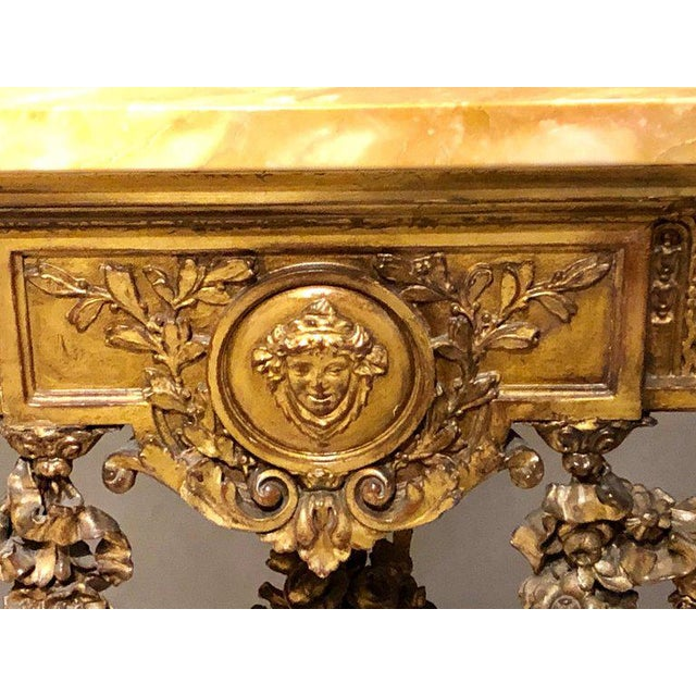 1930s Louis XV Style Giltwood Marble-Top Console, Hall or Center Table For Sale - Image 5 of 13