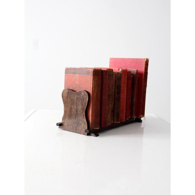 Antique Folding Wood Bookend Shelf - Image 5 of 6