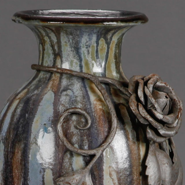 Tall Signed Roger Guerin Vase with Iron Overlay For Sale In Detroit - Image 6 of 8