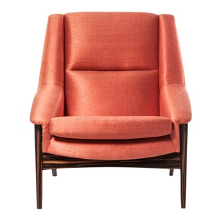 Orange Silk Upholstered Armchair For Sale