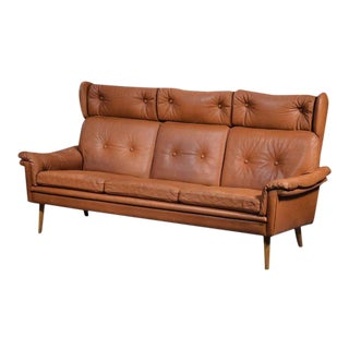 Sven Skipper 1960s Danish Three Person Coupe Wingback Sofa in Cognac Leather For Sale