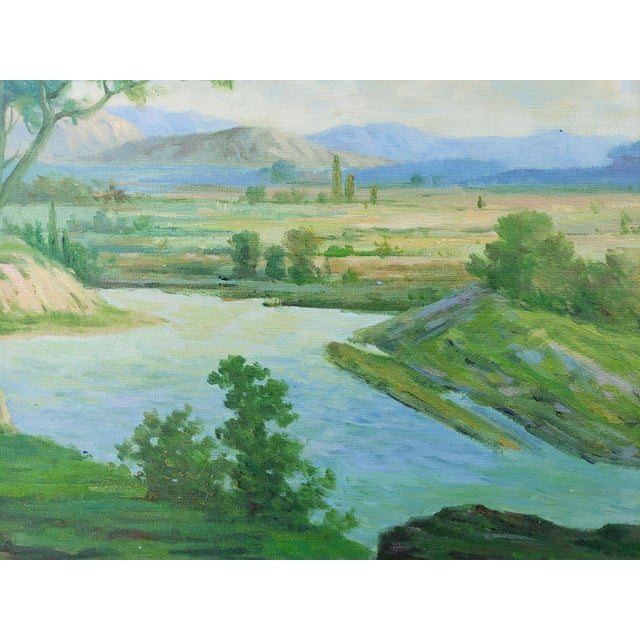 Green Late 20th Century Original Countryside River Landscape Oil Painting For Sale - Image 8 of 12