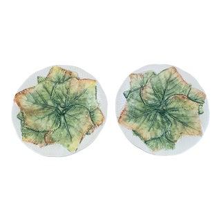 Vintage 1980s Bergdorf Goodman Italian Green Majolica Leaf Plates- Pair For Sale