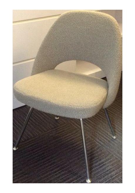 Saarinen Executive Side Chair In Boucle Neutral   Pair