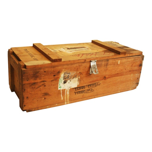 Vintage Wood Military Ammunition Trunk - Image 1 of 11
