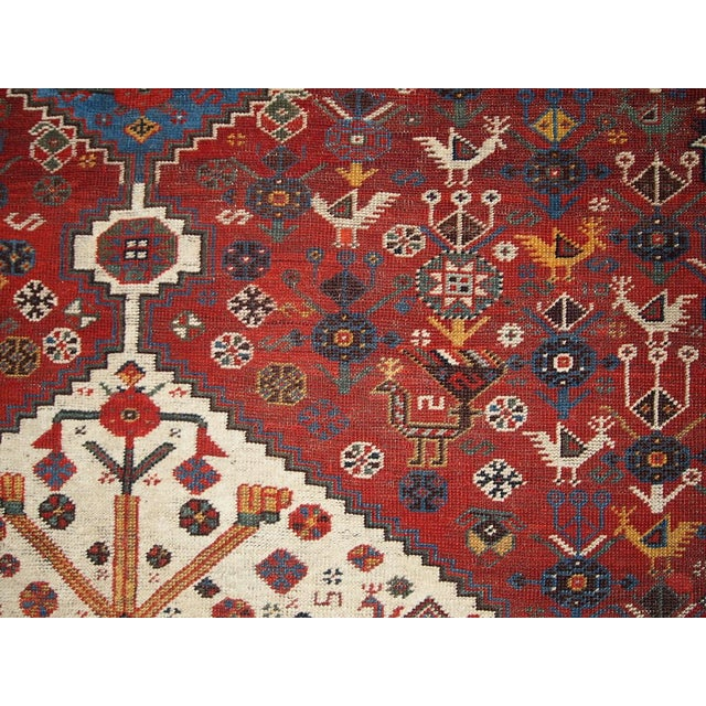 1870s Hand Made Antique Collectible Persian Khamseh Rug 6.4' X 9.9' For Sale - Image 9 of 10