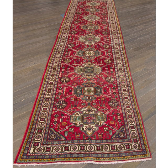 "Apadana - Vintage Persian Tabriz Rug, 3'4"" x 13'3"" For Sale - Image 4 of 4"