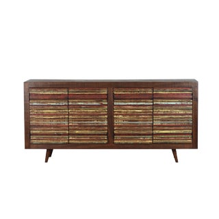 Mid-Century Modern Inspired Reclaimed Wood 4-Door Sideboard
