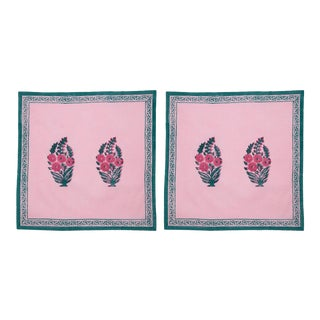 Roza Napkins, Pink & Teal - A Pair For Sale