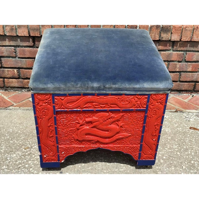 Beautiful Red Lacquered Vintage Asian Ottoman or bench stool. Blue accents on the finish and Blue velvet. Please see our...