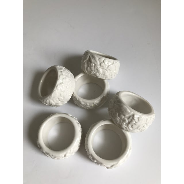 Vintage White Ceramic Napkin Rings - Set of 6 For Sale - Image 4 of 7