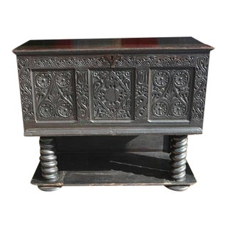 Antique Jacobean English Black Carved Wood Blanket Chest Trunk on Spiral Columns For Sale