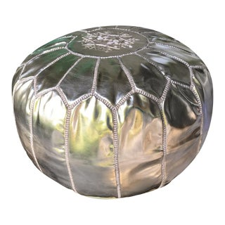 Authentic Silver Moroccan Leather Pouf
