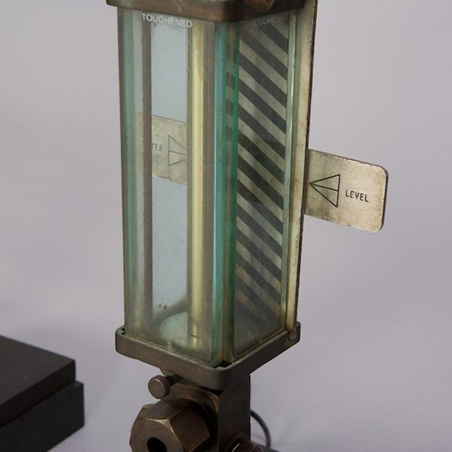 Brass, Glass & Iron Industrial Table Lamps - Pair - Image 4 of 5