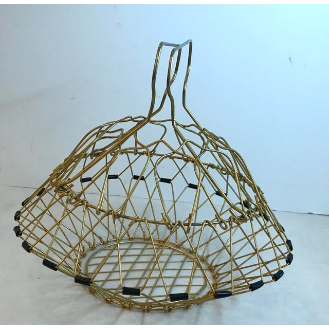 Metal Mid Century Folding Wire Basket For Sale - Image 7 of 10