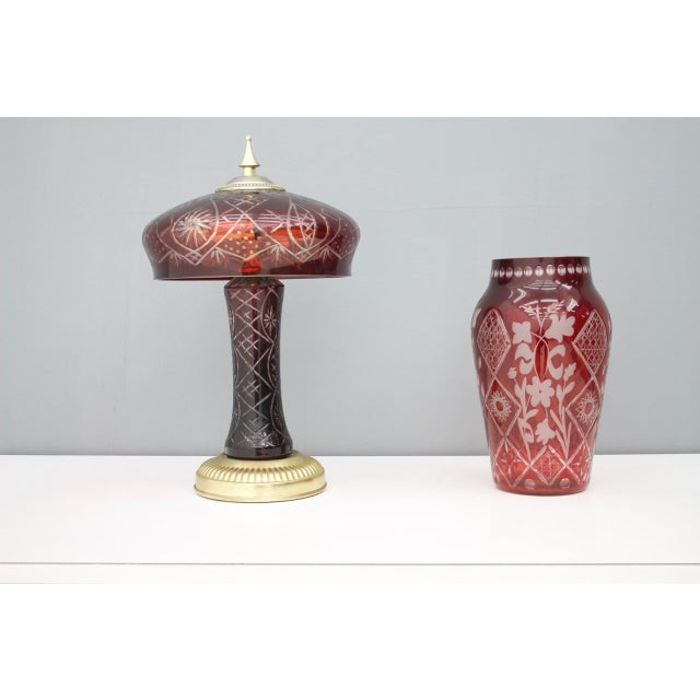 Red Red Glass Table Lamp With Brass Base, France, 1950s For Sale - Image 8 of 9